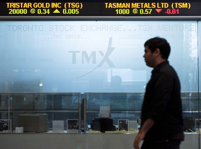 The Toronto Stock Exchange Broadcast Centre is shown on June 28, 2013.THE CANADIAN PRESS/Aaron Vincent Elkaim