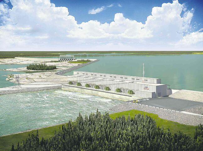 An artist's rendering shows the planned Keeyask generating station at Gull Rapids on the lower Nelson River just upstream of Stephens Lake.