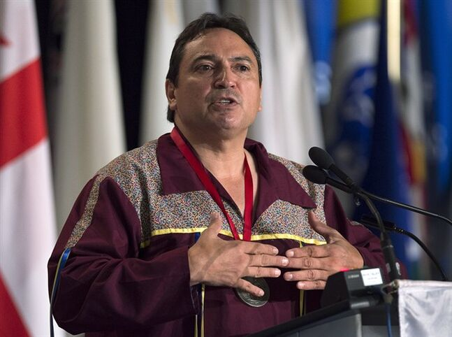 Perry Bellegarde, chief of the Little Black Bear First Nation in Saskatchewan, addresses the audience as native leaders from across Canada attend the Assembly of First Nations' 35th annual general meeting in Halifax on Thursday, July 17, 2014. THE CANADIAN PRESS/Andrew Vaughan