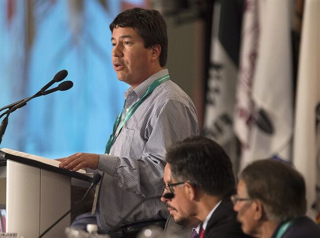Stuart Wuttke, general counsel for the Assembly of First Nations, details proposals dealing for the election of a national chief as native leaders from across Canada attend the AFN's 35th annual general meeting in Halifax on Tuesday, July 15, 2014. THE CANADIAN PRESS/Andrew Vaughan