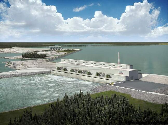Hydro's $20-billion capital-development plan includes the construction of the Keeyask (pictured in artist's rendering) and Conawapa generating stations, and the Bipole III transmission line