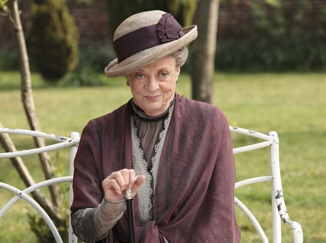 In this image released by PBS, Maggie Smith as the Dowager Countess Grantham, is shown in a scene from the second season on