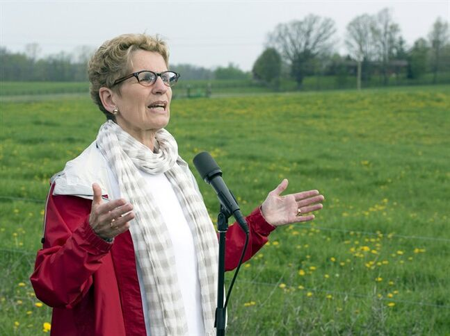 Ontario Premier Kathleen Wynne speaks in Paris, Ont. on Tuesday May 20, 2014, 2014. THE CANADIAN PRESS/Frank Gunn