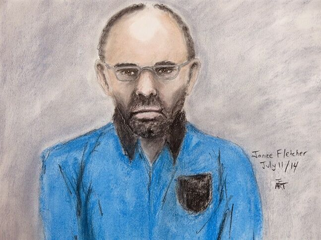 Court sketch of Douglas Garland appearing in court in Calgary July 11, 2014. Garland, a person of interest in Calgary missing person case, has been released on bail. THE CANADIAN PRESS/Janice Fletcher