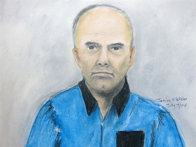 In this artist's sketch, Douglas Garland appears in court in Calgary on Monday, July 7, 2014. Garland, who has been identified in local media as a person of interest in the disappearance of a Calgary five-year-old and his grandparents, made a brief court appearance charged with identity theft in an unrelated case. THE CANADIAN PRESS/Janice Fletcher