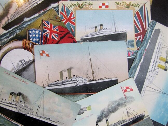 Postcards of the Empress of Ireland are shown, in a handout photo. THE CANADIAN PRESS/Guy D'Astous, rms-empress-of-ireland.com