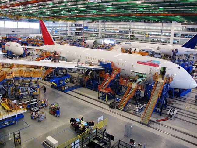 Workers assemble Boeing 787 Dreamliners in the company's massive assembly plant in North Charleston, S.C. on Dec. 19, 2013. THE CANADIAN PRESS/AP, Bruce Smith