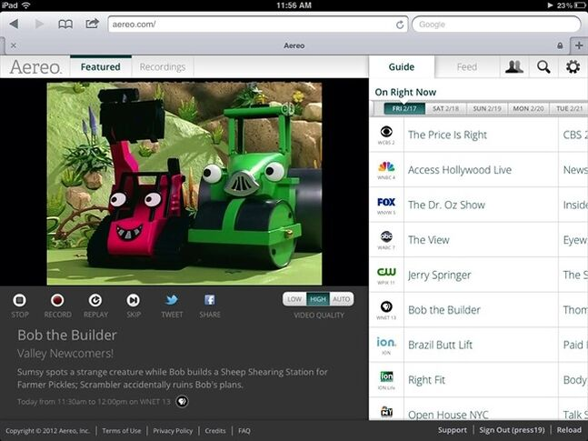 FILE - This file image provided by Aereo shows a streaming broadcast of Bob the Builder on the New York PBS station, WNET 13. The Supreme Court on Wednesday, June 25, 2014 ruled that Aereo has to pay broadcasters when it takes television programs from the airwaves and allows subscribers to watch them on smartphones and other portable devices. (AP Photo/Aereo, File)