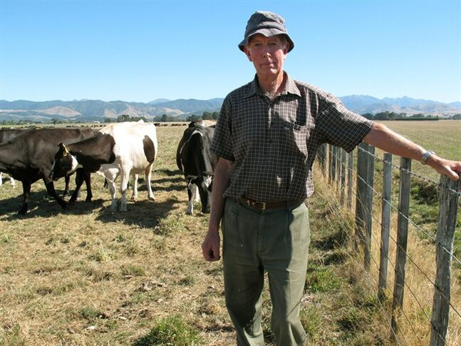 John Rose stands in a field on his dairy farm near Carterton, New Zealand, on Thursday, March 14, 2013. A drought in New Zealand's North Island is costing farmers millions of dollars each day and is beginning to take a toll on the country's economy. (AP Photo/Nick Perry)