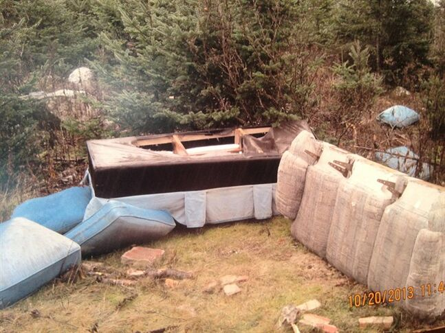 This handout photo taken last October shows one of 40 illegal dump sites identified by the City of St. John's, N.L. Police announced charges against five male suspects Tuesday using hidden cameras to catch polluters. THE CANADIAN PRESS/HO