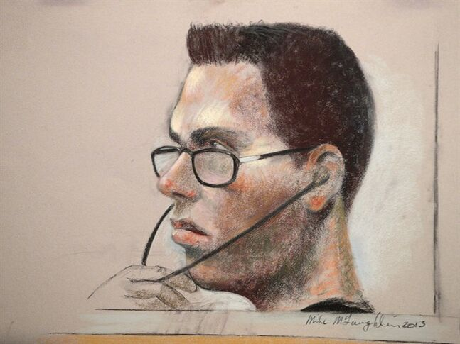 Luka Magnotta is shown in an artist's sketch in a Montreal court on March 13, 2013. A judge has prevented Montreal police from getting their hands on a confidential academic video interview with accused killer Magnotta.THE CANADIAN PRESS/Mike McLaughlin