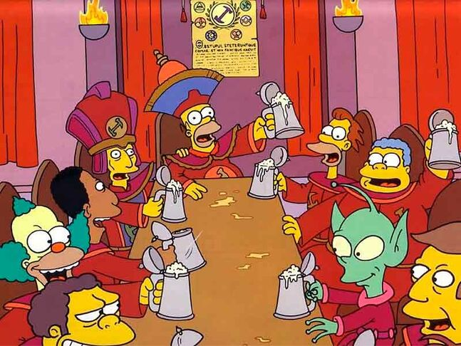 "A scene from ""Homer the Great"" episode of ""The Simpsons"" showing members of The Stonecutters in their secret meeting place."
