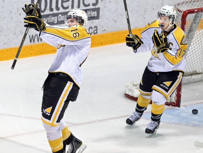 Mark Stone (left) has been sharp in shootouts this season. His Brandon Wheat Kings teammates? Not so much.