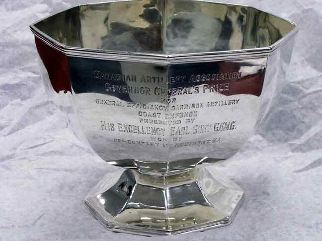 The cup donated by Lord Earl Grey as a trophy for General Efficiency by Coast Artillery units is normally kept in the Officers' Mess at CFB Shilo.