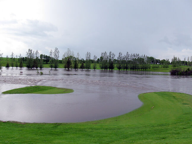 The first and ninth holes at the Melita Golf Course are flooded by the rainstorm that hit Westman on the weekend. The course could be closed a month.