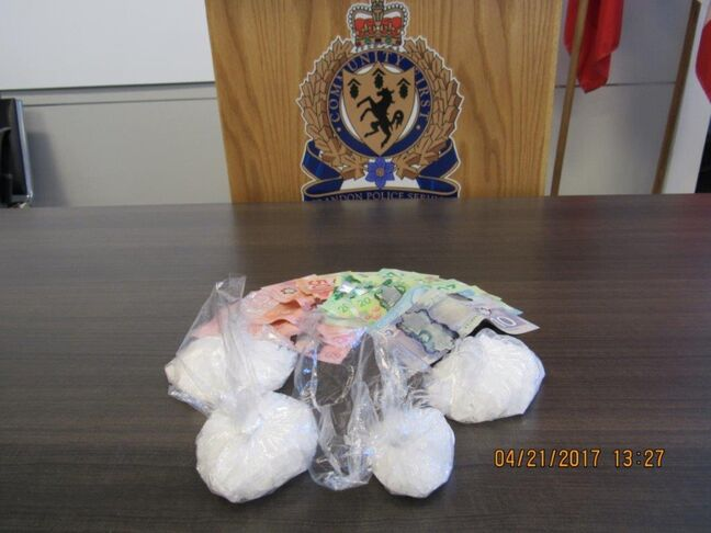 Shown here is the crystal meth and cash seized on Thursday as a result of a Brandon Police Service drug investigation.
