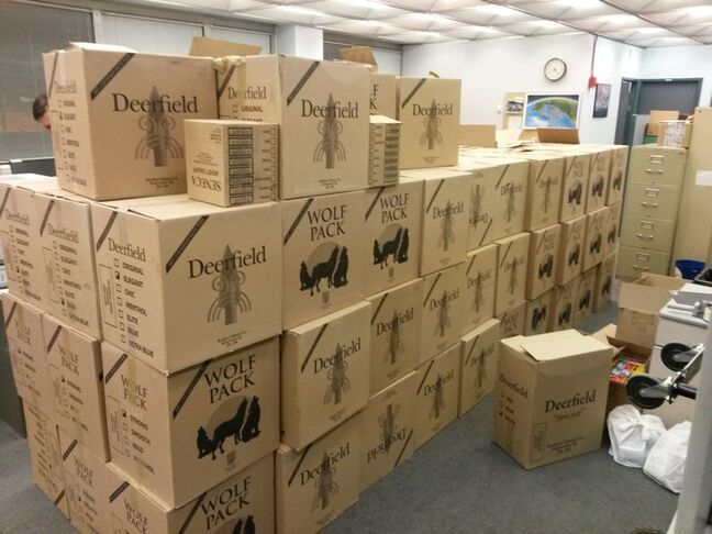Police released this photo of the nearly one million cigarettes that were seized on Jan. 22 in a smoke-shop raid at Dakota Plains First Nation.