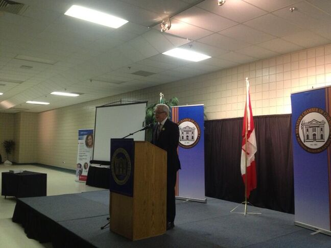 Manitoba Premier Greg Selinger speaks to Brandon Chamber members during his State of the Province address on Thursday.