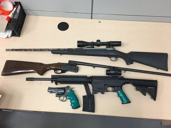 Displayed here are some of the guns seized by members of the Brandon Police Service from a city home. The guns were found as part of an investigation into the events surrounding a high-speed chase Thursday afternoon.
