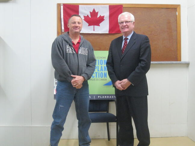 Merv Tweed and Brent Cullen at yesterday's announcement in Wawanesa.