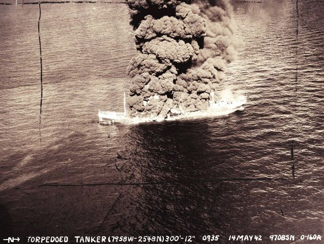 This May, 14, 1942, U. S. Army Air Corps photograph, provided by the National Archives, College Park, Md., shows the burning tanker Potrero del Llano, a Mexican ship heading to New York that was sunk on May 14, 1942 by a German U-boat, about 15 miles southeast of Miami's Biscayne Bay