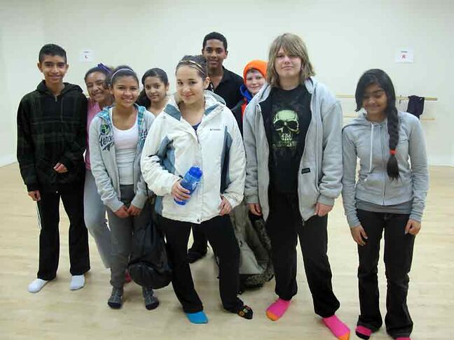 These Youth Revolution students livened up a Grade 8 phys-ed class at Meadows School by teaching them a Latin dance, the Merengue.