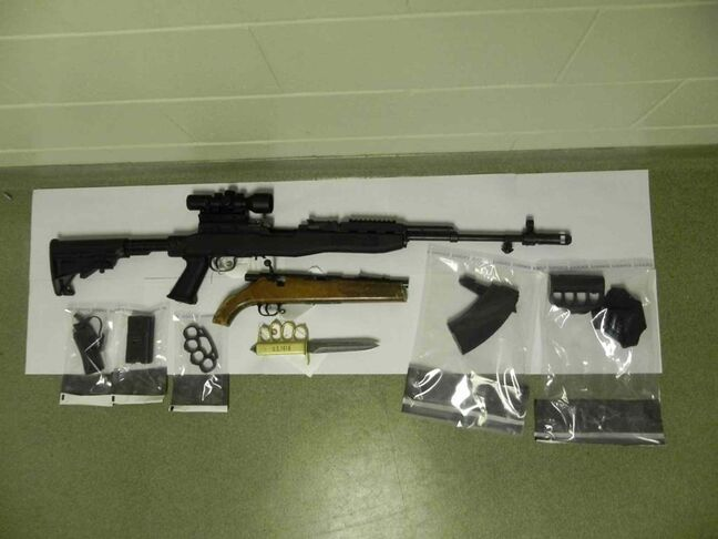 Some firearms seized during the raid of a house in the RM of Lac du Bonnet earlier this year.