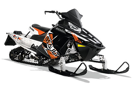 Three 2013 Polaris Switchback Assault 800s — orange and black, like this one — were taken from Swan River last weekend. A fourth snowmobile was also taken.