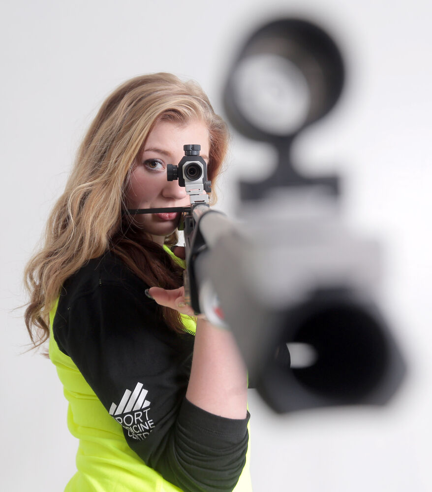 Katharina Knipping, pictured in February, set her sights on gold at the coming Canada Games in Prince George, B.C., in the target air rifle event. (Bruce Bumstead/Brandon Sun)