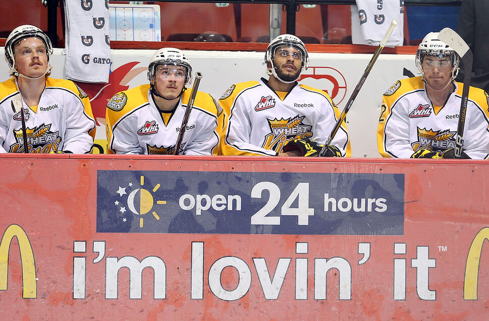 Brandon Wheat Kings players look up at the clock in the dying seconds of the Wheaties 6-0 loss to the Edmonton Oil Kings in game four of their WHL playoff series at Westman Place. (Tim Smith)