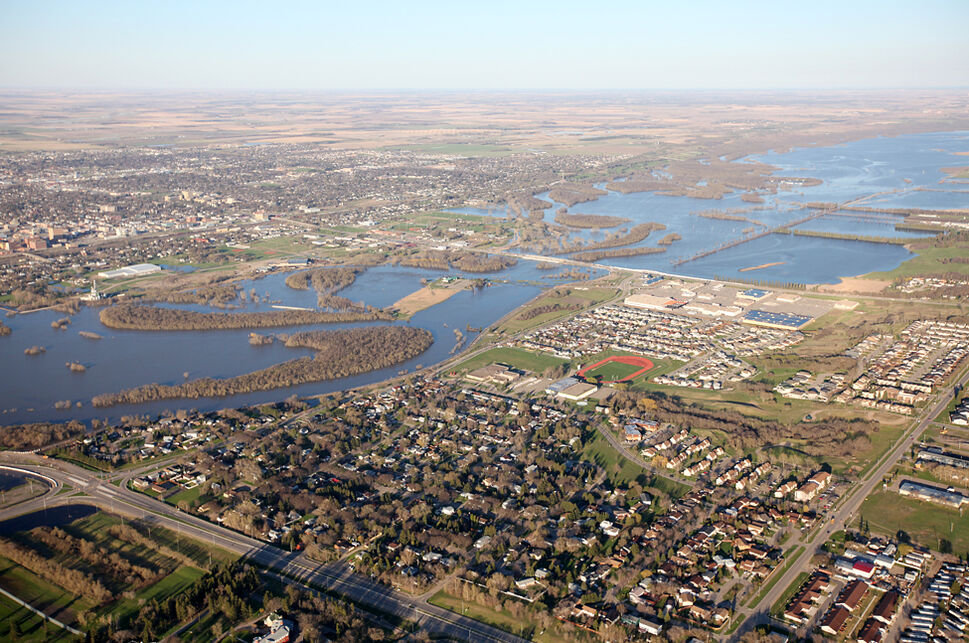 Brandon is seen from high above 1st St. North on the day of the Assiniboine Rivers crest, Monday, May 16, 2011.