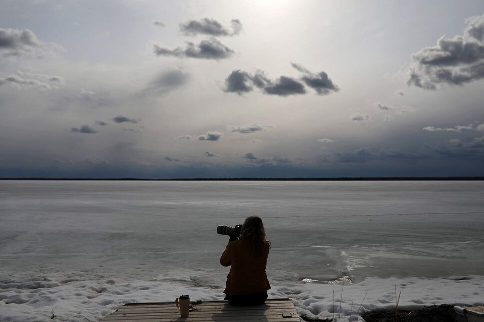 Dauphin based photographer Debora Crammond photographs at one of her favourite spots, The Spruces in Riding Mountain National Park, as ice still clings to Clear Lake on a warm April day. (Tim Smith/The Brandon Sun)