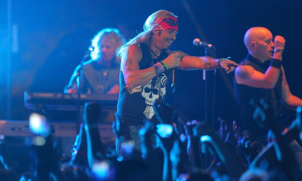 Saturday night's big headliner Bret Michaels rocked the main stage at Rockin' the Fields in Minnedosa.