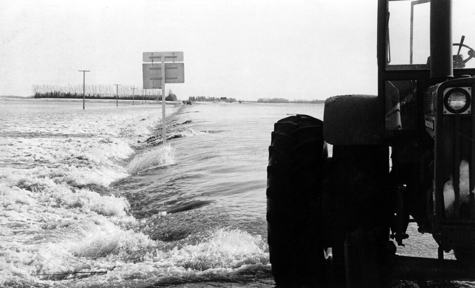 A water-logged section of Highway 34 during the flood of 1976.