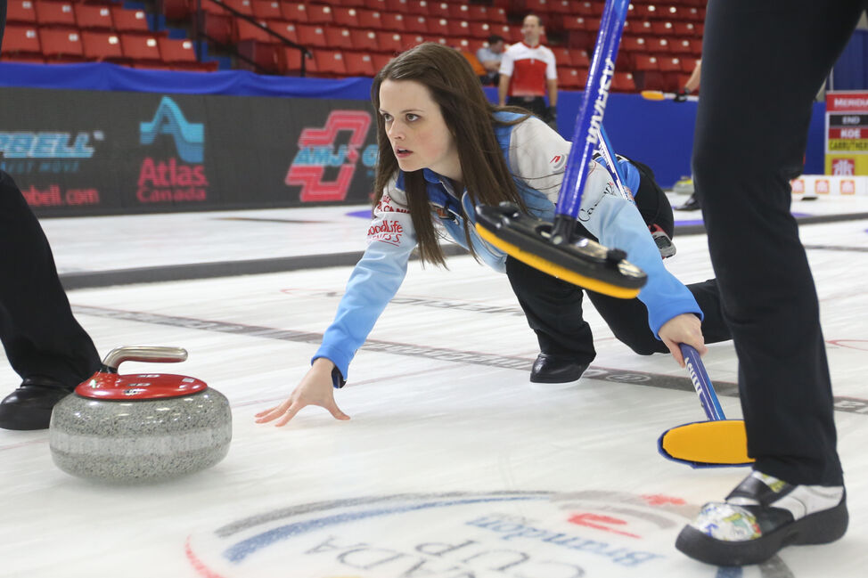 Skip Tracy Fleury throws a stone against Kerri Einarson on Thursday afternoon.