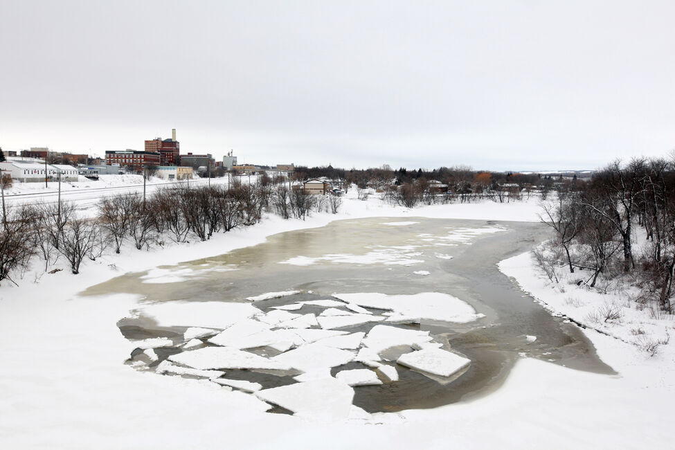 The beginnings of spring break-up of the ice on the Assiniboine River in Brandon was visible from the First Street bridge on March 22.