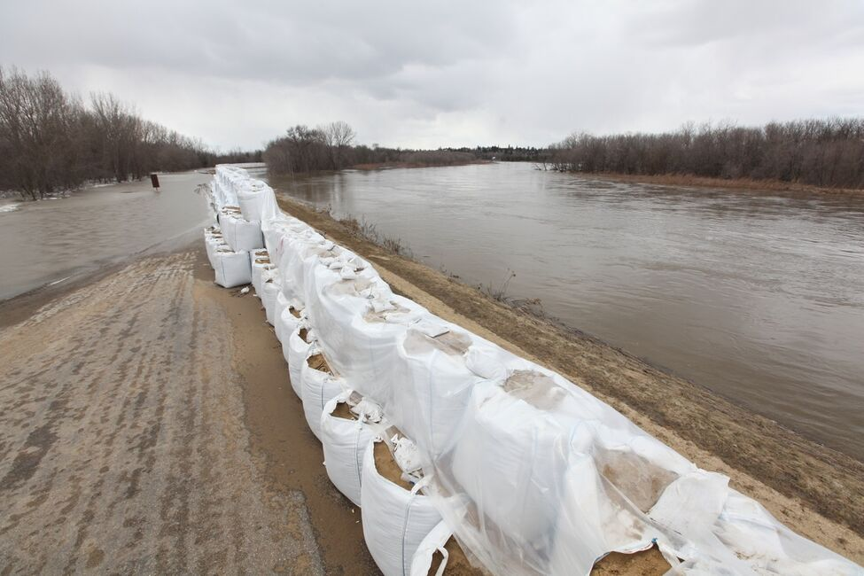 Sandbags create a dike along the campground road in Spruce Woods Provincial Park at the edge of the swollen Assiniboine River on Monday. Workers were busy on Monday fighting the floodwaters at the Seton Bridge where Highway 5 crosses the Assiniboine in the park.