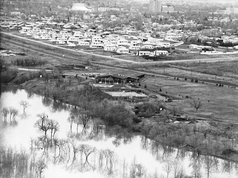 The Wheat City Golf Course under water during the 1976 flood.