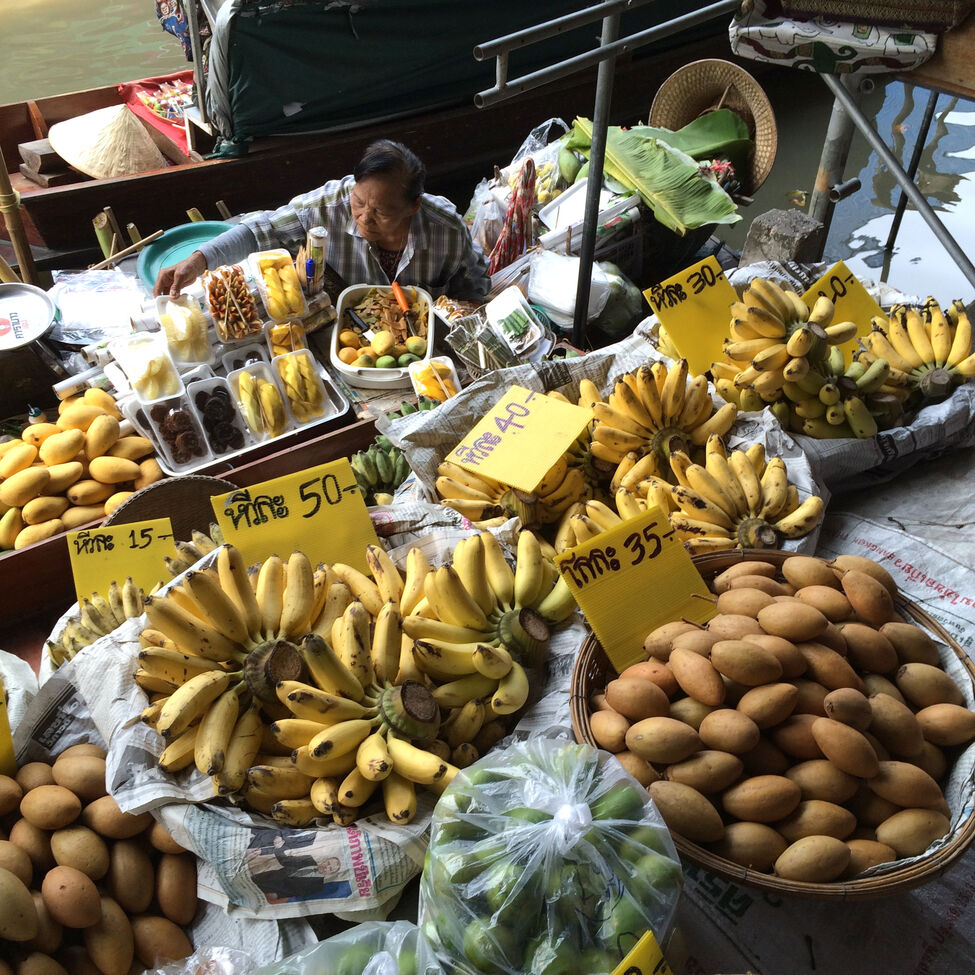 Bananas and other fresh fruits are on offer at a floating market north of Bangkok. Managers at the Elephants World sanctuary encourage visitors to bring bunches of bananas for the elephants as it's one of their favourite snacks.