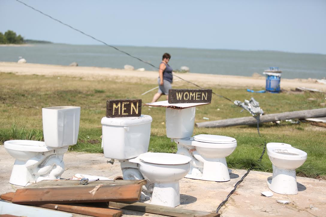The buildings surrounding the toilets at Margaret Bruce Beach near Alonsa were completely destroyed by a tornado Friday night. Only the toilets themselves remained.