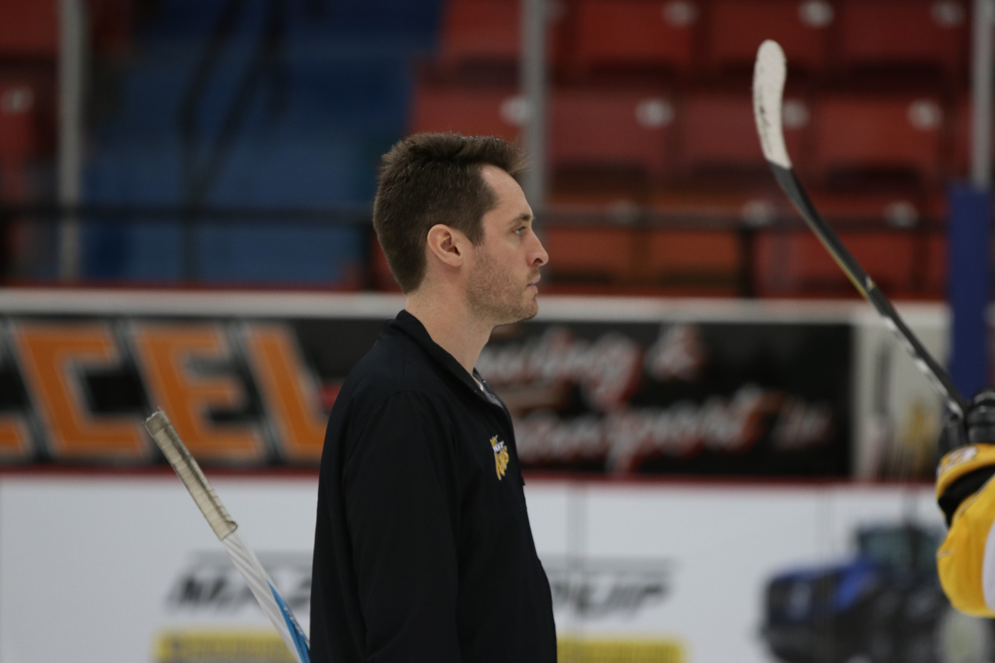 Brandon Wheat Kings goaltending coach Tyler Plante, shown during a team practice at Westoba Place in 2018, will continue in the role under new head coach Dave Lowry.