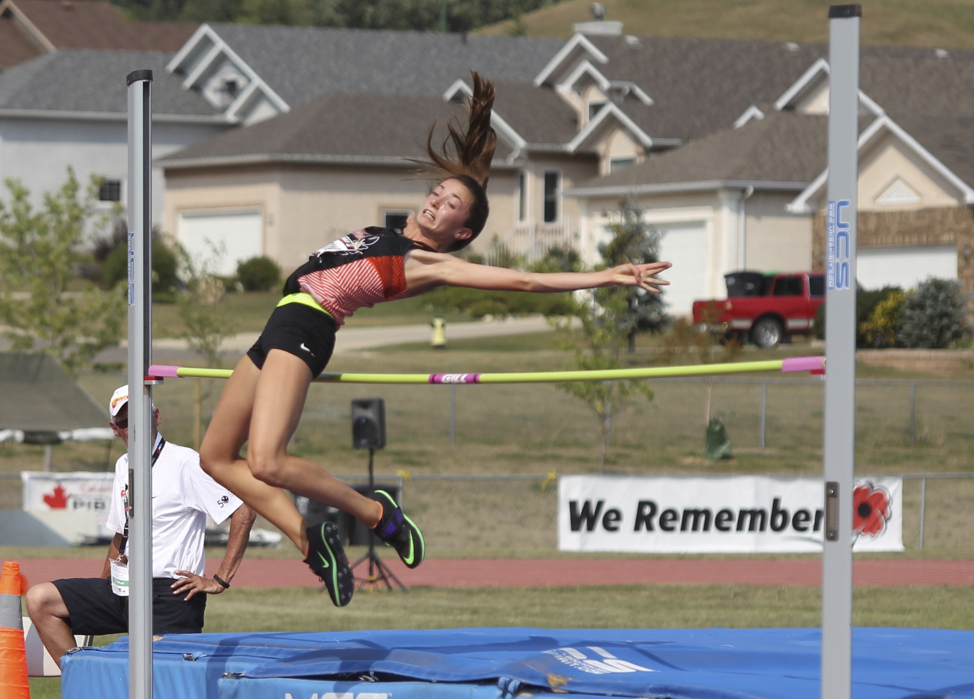 Lara Denbow clears 1.70 metres in the under-16 girls' high jump at the Legion National Youth Track and Field Championships at UCT Stadium last August.