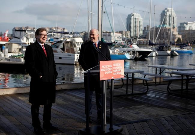Premier John Horgan and federal Minister of Fisheries Jonathan Wilkinson make an announcement about the Salmon Restoration and Innovation Fund during a press conference at Fisherman's Wharf in Victoria, B.C., on Friday, March 15, 2019. THE CANADIAN PRESS/Chad Hipolito