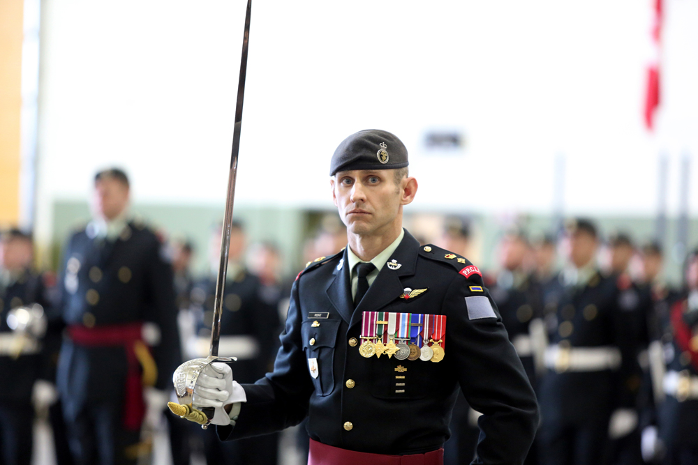 Lt.-Col. Michael Reekie takes over command of the 2nd Battalion Princess Patricia�s Canadian Light Infantry during a change of command ceremony on Monday. (Melissa Verge/The Brandon Sun)