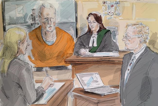 In this artist's sketch, alleged serial killer Bruce McArthur makes an appearance via video in a Toronto courtroom, Wednesday, April 11, 2018. From left, lawyer Samantha Saunders, part of McArthur's defence team, McArthur, Justice Wendy Agnew and Crown Michael Cantlon are shown. THE CANADIAN PRESS/Alexandra Newbould
