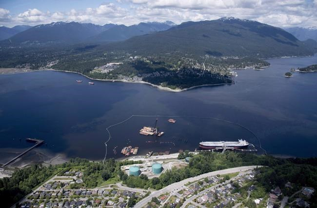 A aerial view of Kinder Morgan's Trans Mountain marine terminal, in Burnaby, B.C., is shown on Tuesday, May 29, 2018. The National Energy Board will hear oral traditional evidence from Indigenous groups in the coming weeks as part of its new review of the Trans Mountain pipeline expansion. THE CANADIAN PRESS Jonathan Hayward