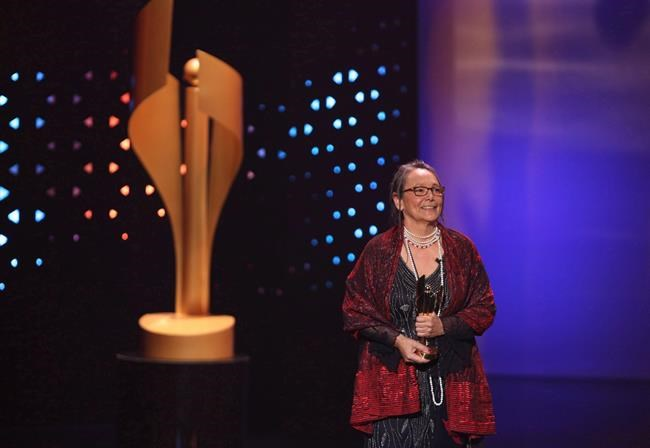 Tantoo Cardinal accepts the Earle Grey Award for her contributions to the industry and the Canadian experience at the 2017 Canadian Screen Awards in Toronto on Sunday, March 12, 2017. Renowned Metis performer Cardinal has won this year's Technicolor Clyde Gilmour Award from the Toronto Film Critics Association. THE CANADIAN PRESS/Peter Power