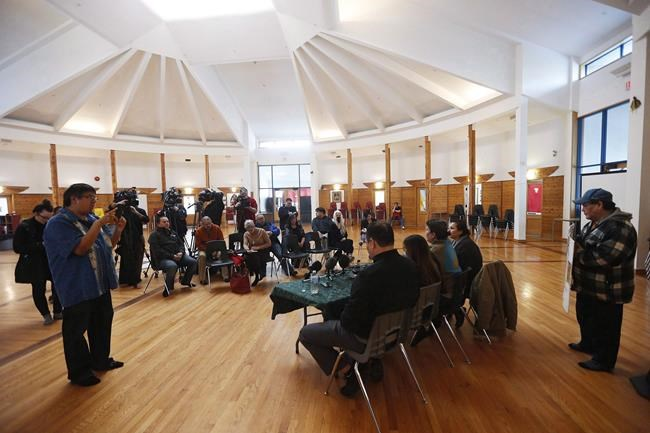 The Manitoba 60s Scoop Survivors Group speaks with media at Thunderbird House in Winnipeg, Friday, February 16, 2018. A federal judge has approved a multimillion-dollar settlement for Indigenous people who were taken from their families and placed in non-Indigenous foster homes in the so-called '60s Scoop.THE CANADIAN PRESS/John Woods