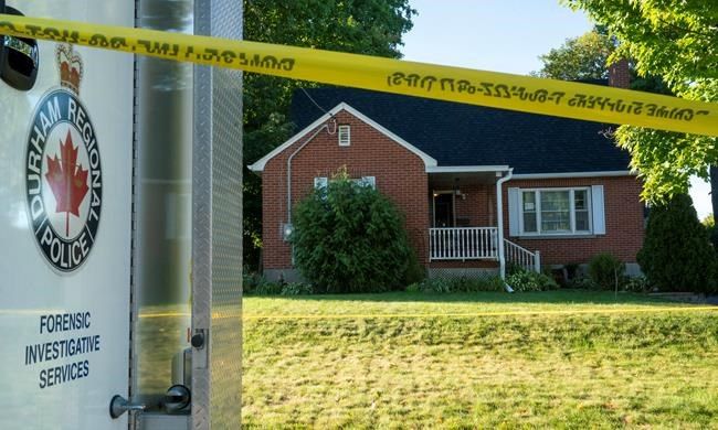 A Durham Police forensics truck sits in front of a home on Parklane Avenue in Oshawa, Ont. on Friday, September 4, 2020. Mourners will gather in Oshawa, Ont., today to remember the four members of the Traynor family who were killed in a shooting earlier this month. THE CANADIAN PRESS/Frank Gunn