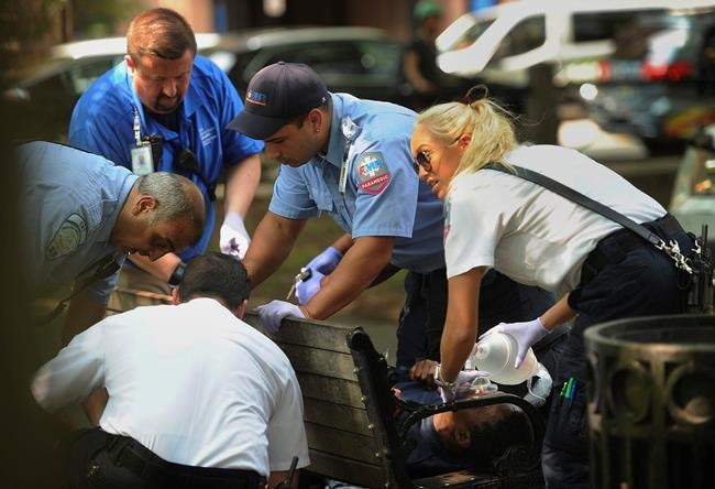 Paramedics and EMT members respond to one of three simultaneous drug overdose victims on the New Haven Green, a city park in New Haven, Conn., Thursday, Aug. 16, 2018. Investigators try to determine exactly what sickened them and tens of other victims. People started falling ill Wednesday morning, mostly on the New Haven Green. No deaths were reported. Police have arrested a man who they say may have passed out free samples of synthetic marijuana. (Brian A. Pounds/Hearst Connecticut Media via AP)